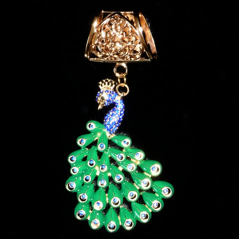 Scarf Slider - Blue Rhinestones Green Tail Peacock