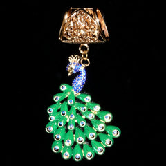 Blue rhinestones green tail peacock
