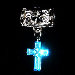 Scarf Slider - Cross Pendand Aquamarine