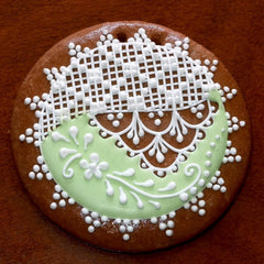 Decorative gingerbread ornament with royal icing