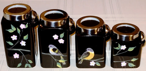 Hand Painted Canisters - Birds