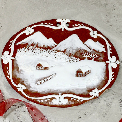 Gingerbread Winter Scene - Farm in Mountains A401GBL 7x5""