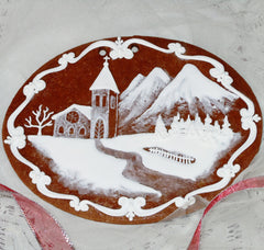 Gingerbread winter scene church in mountains