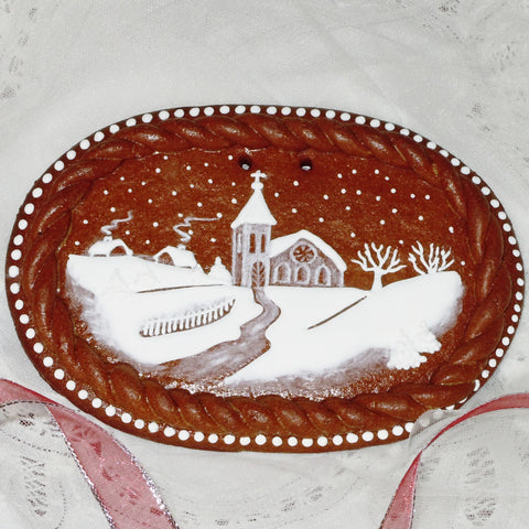 Gingerbread Winter Scene with Rope Frame A405GBL 7x5""