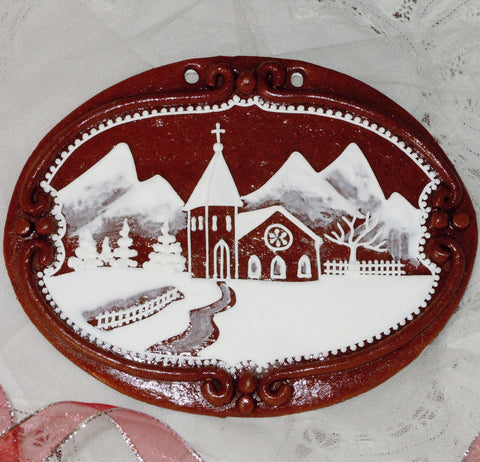 Gingerbread Winter Scene - Christmas A408GBL 7x5""