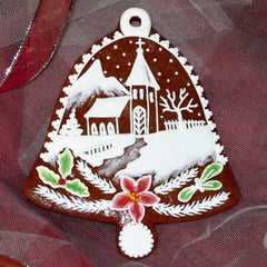Gingerbread Bell with Church and Poinsettia