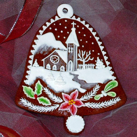 Gingerbread Bell with Church and Poinsettia A024-2GBL 4 1/2""