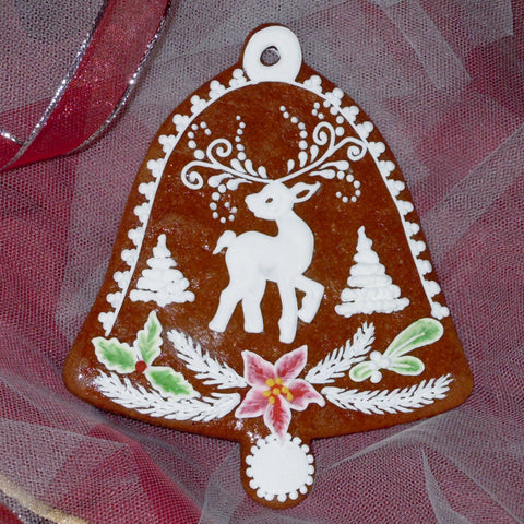 Gingerbread Bell with Deer and Poinsettia A024-5GBL 4 1/2""