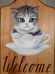 Welcome sign - Kitty in a Cup - painted on cutting board