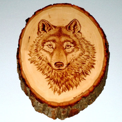 Wooden Plaque - Wolf (Coffee painting)
