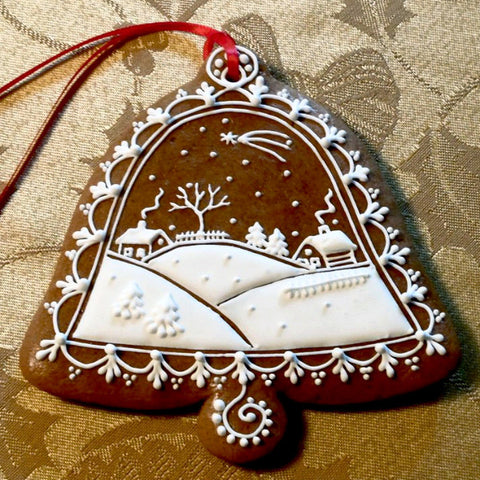 Gingerbread Bell with Winter Scene A023GBL 4 1/2""