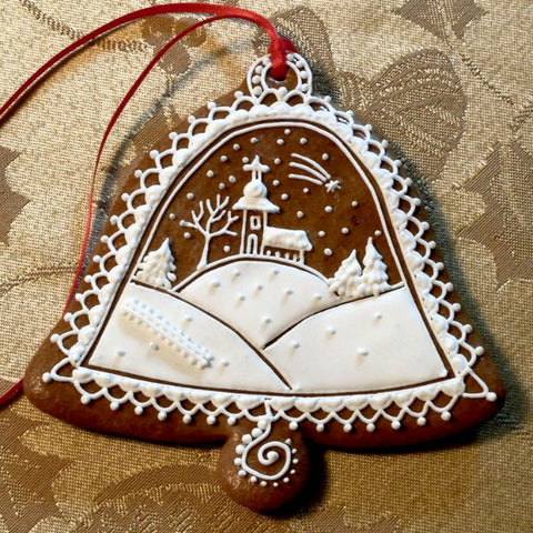 Gingerbread Bell - Winter Scene with Church A024GBL 4 1/2""