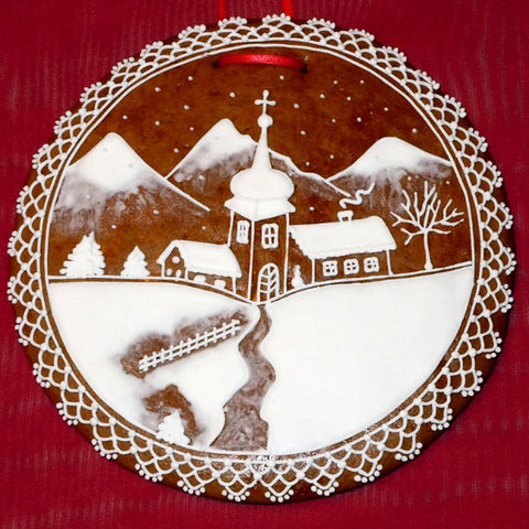 Gingerbread Winter Scene - Christmas in Mountains A022GBL 5""
