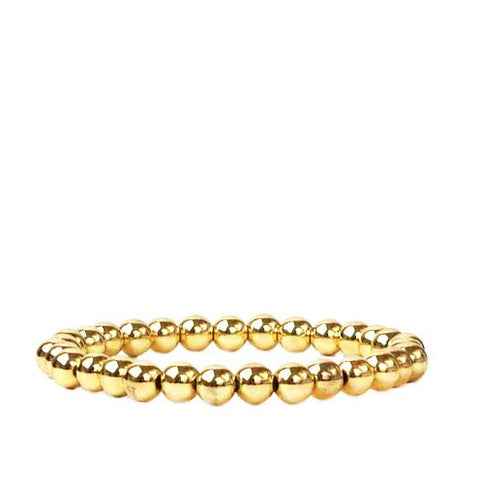 6 MM Metal Beaded Stretch Bracelet~ Gold