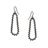 metal studded open drop earring