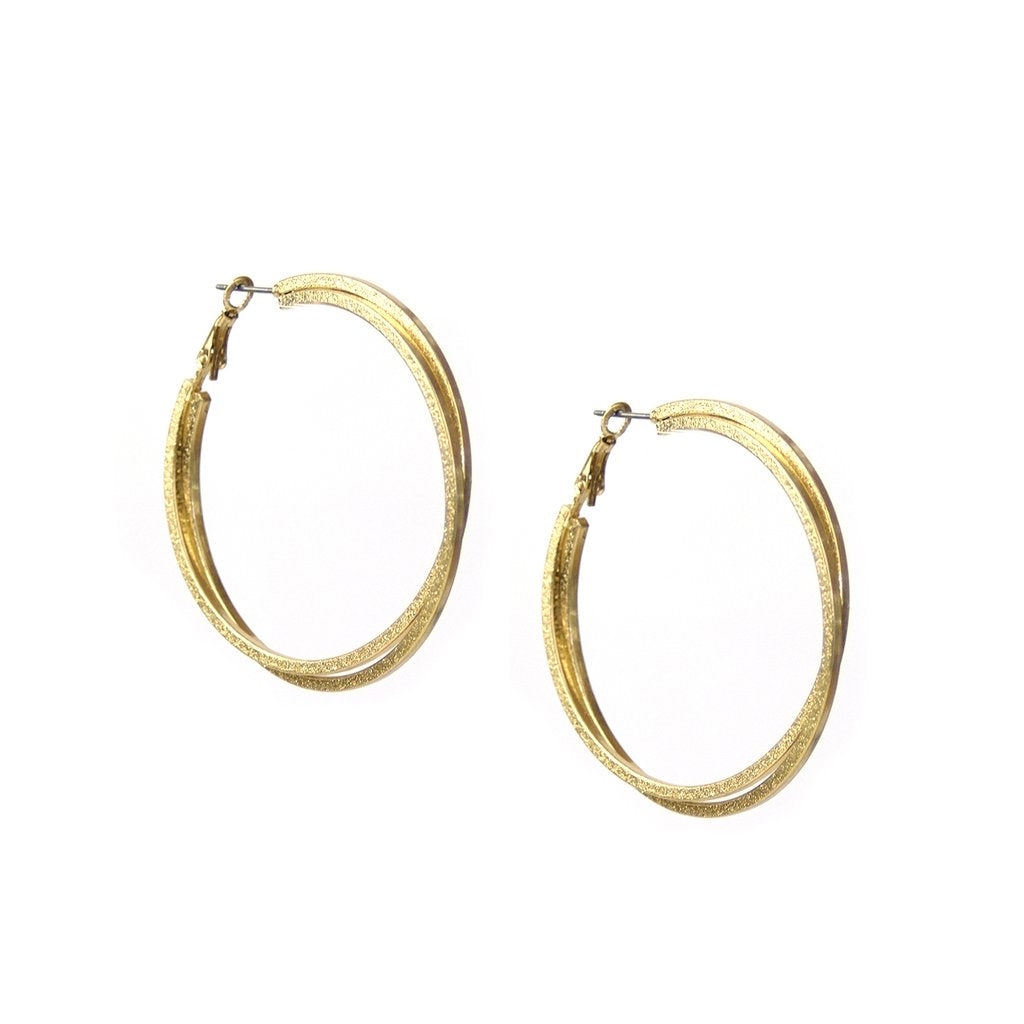 Large Shimmer Twist Double Hoop
