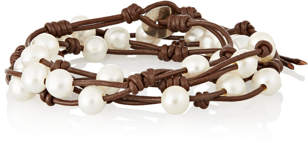 Chan Luu Brown Pearl and Leather Wrap Bracelet