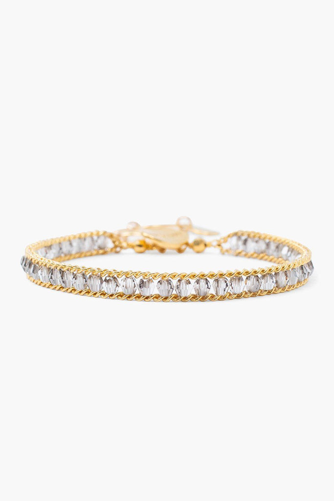 Chan Luu Satin Crystal and Gold Single Chain Wrap Bracelet
