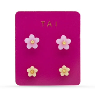 Tai Flower Post Set of 2 Stud Earrings