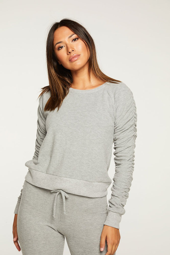 Chaser Bliss Knit Shirred Long Sleeve Raglan Pullover
