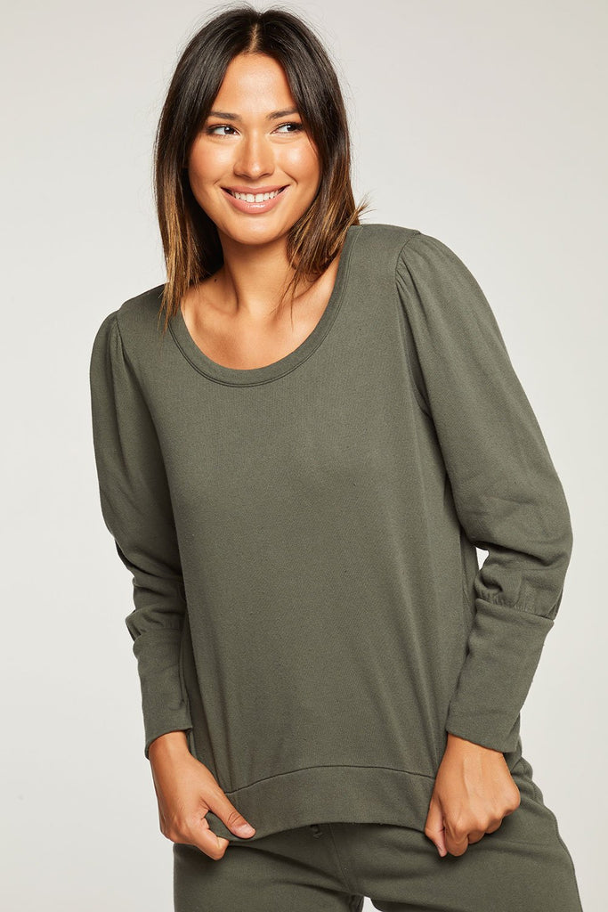 Chaser Safari Cotton Fleece Puff Sleeve Pullover