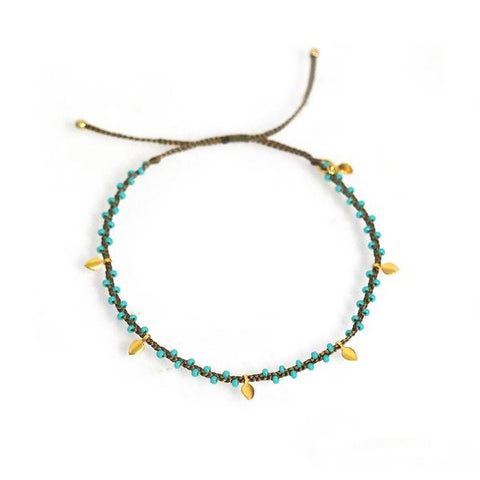 Tai Navy Beaded Bracelet with Dangling Leaves