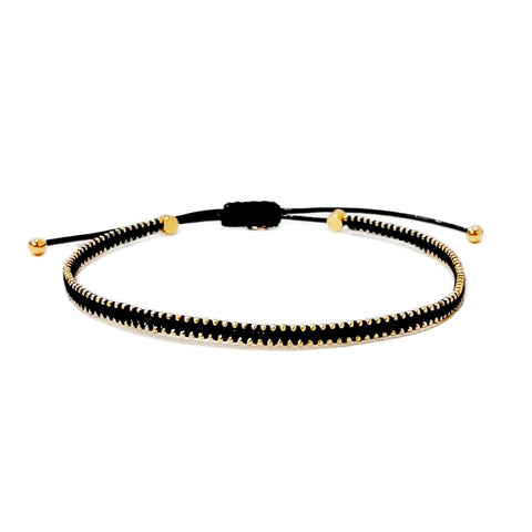 Tai Silk Bracelet With Gold Beaded Accents