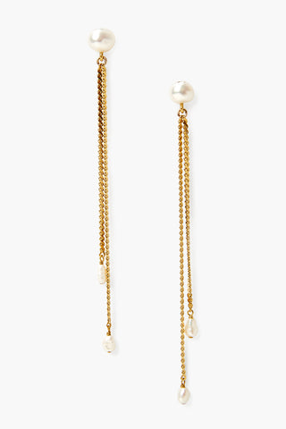 Chan Luu White Pearl Long Dangle Earrings