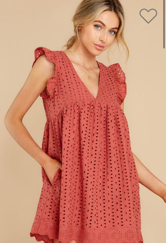 Eyelet Romper Dress in Brick