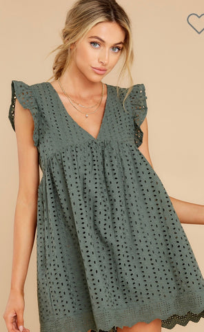 Eyelet Romper Dress in Green