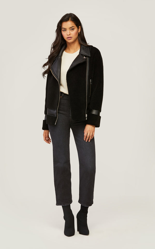 Linnea Faux Sherpa Jacket with Moto Collar