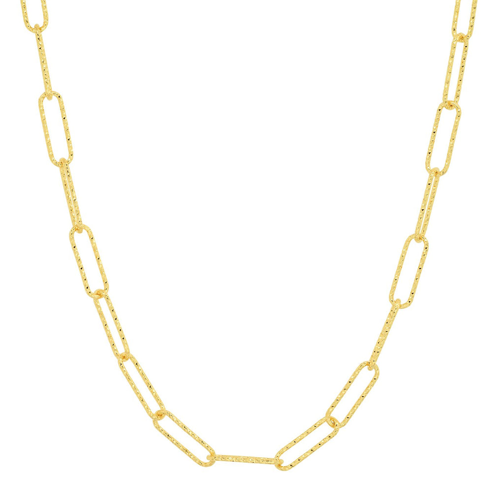 Tai Gold Hammered Paperclip Chain