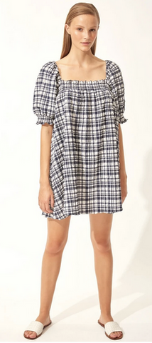 Babydoll Dress Puckered Madras