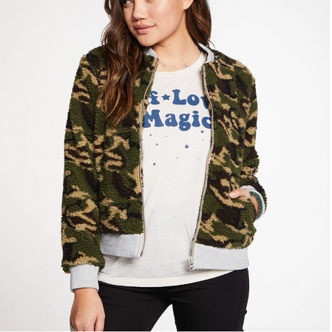 Chaser Camo Faux Fur Long Sleeve Bomber Jacket
