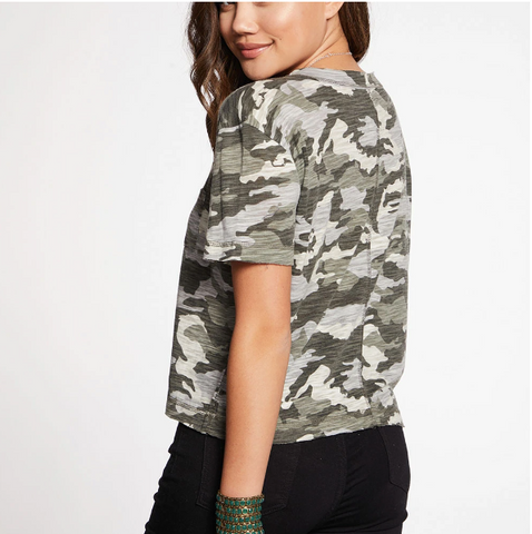 Chaser Camo Jersey Cropped Scoop Neck Tee