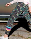 Dark Camo Sweatpants w/Stripes