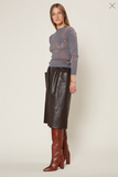 Current Air Faux Leather Midi Skirt