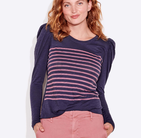 Stripes Long Sleeve- Navy