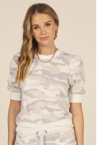 Soft Lilac Camo Puff Short Sleeve Top