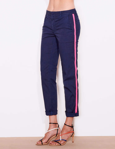 Roll Up Trouser- Pink Trim