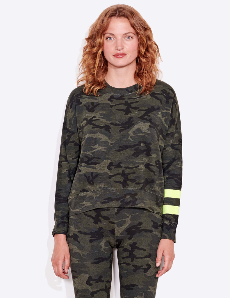 Sundry Arm Stripe Camo Sweatshirt