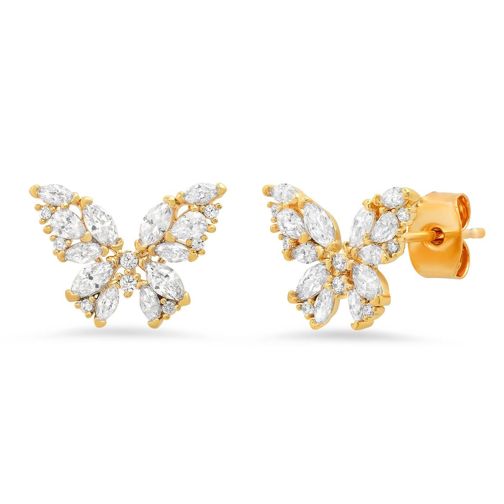 Tai CZ Encrusted Butterfly Studs