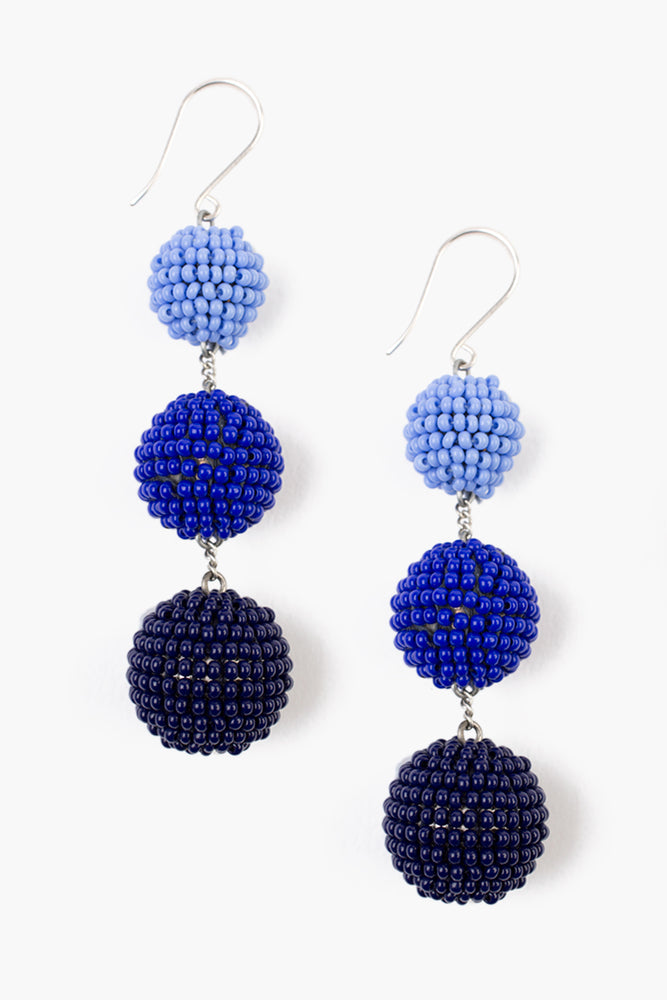 Riviera Blue Tier Pom Pom Earrings