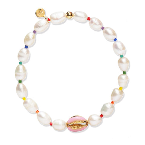 Hand Made Pearl Bracelet with Sea Shell And Rainbow Accents