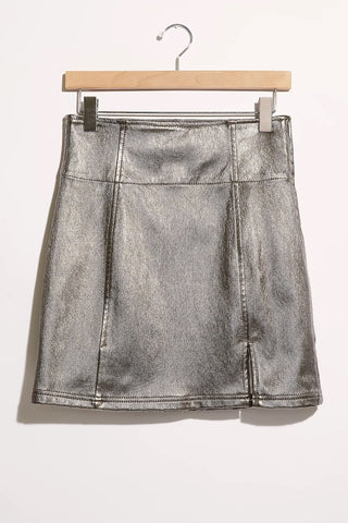 Free People Holding Onto a Dream Coated Mini Skirt-Silver