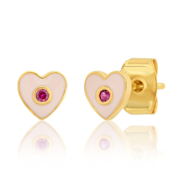 Tai Enamel Heart Studs with CZ Accent