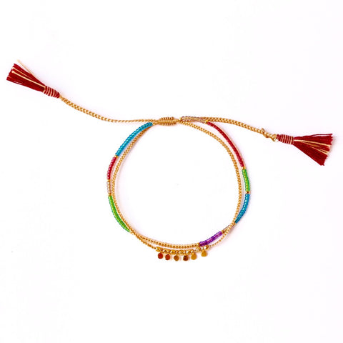 Tai Gold Disc Rainbow Beaded Bracelet
