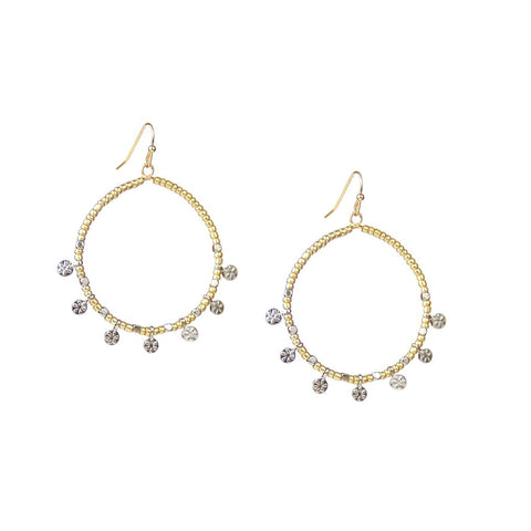 Open Circle Flower Disc Earring