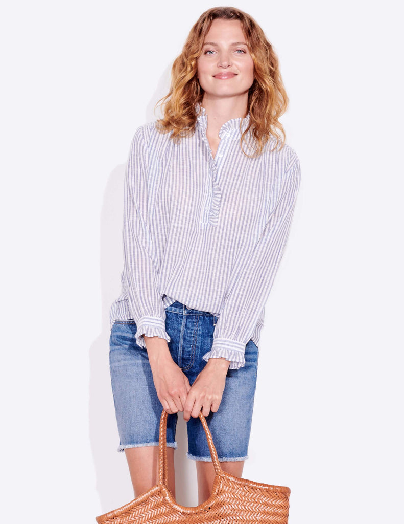 Ruffle Neck Blouse- Stripe