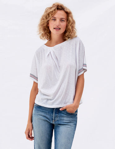 Sundry Embroidered Twist Neck tee